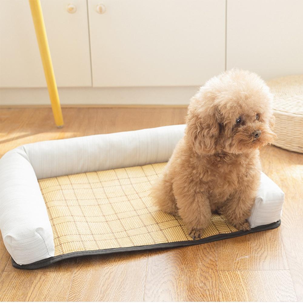 Sofá cama suave para perro y gato, alfombrilla de mimbre lavable, suministros de nido para mascotas, sofás para cachorros, accesorios de verano