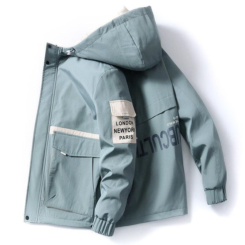 Ropa de primavera y otoño para hombre, chaqueta de talla 3XL, prendas de vestir con capucha, abrigo ajustado, Parka con capucha, chaqueta estampada de moda para hombre, dropshipping
