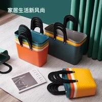 plastic storage basket with handle portable shower caddy bins organizer grocery shopping bag bathroom shower tote