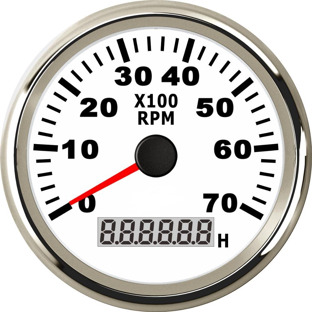 Compte-tours RPM de 85mm   Avec horaire, 7000RPM 9-32V avec rétro-éclairage rouge 12V 24V