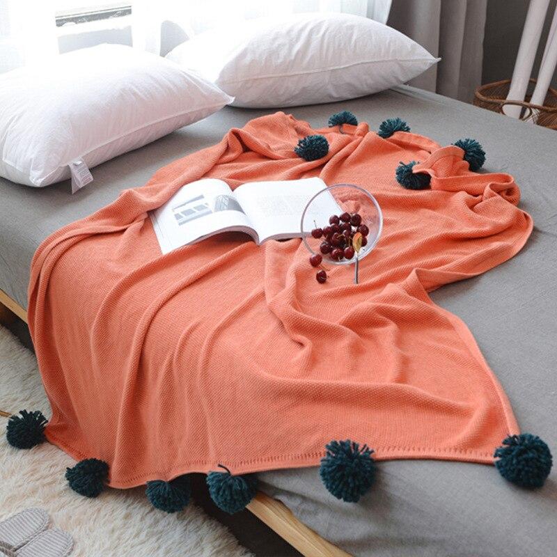 Manta de algodón suave de ganchillo con bola portátil cálido sofá cama de punto tiro azul o naranja gris 3 colores manta 130*160cm