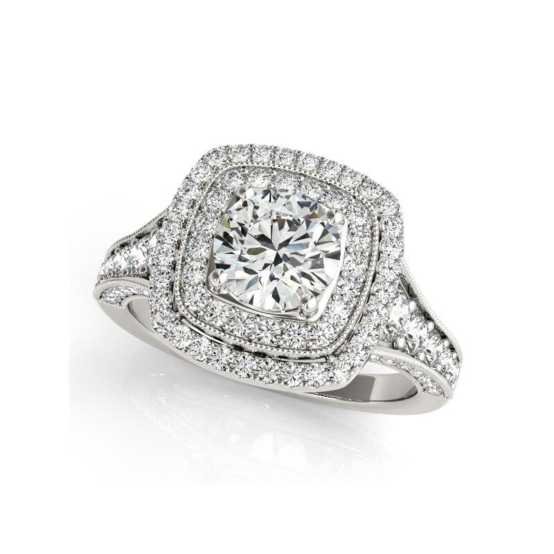 925 فضة 1 Ct SONA حجر خاتم الخطوبة مجموعات فاخرة البنصر مجوهرات الأزياء للنساء مجوهرات