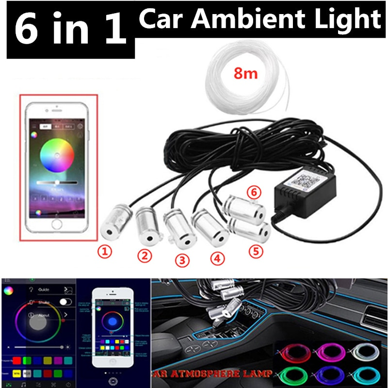 6 in 1 RGB LED Atmosphere Car Light Interior Ambient Light Fiber Optic Strips Light by App Control DIY Music 8M Fiber Optic Band
