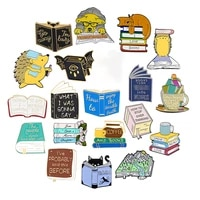 reading time lazy hedgehog puppy enamel pin travel in the ocean of knowledge badges clothes bag lapel pin brooches jewelry gift