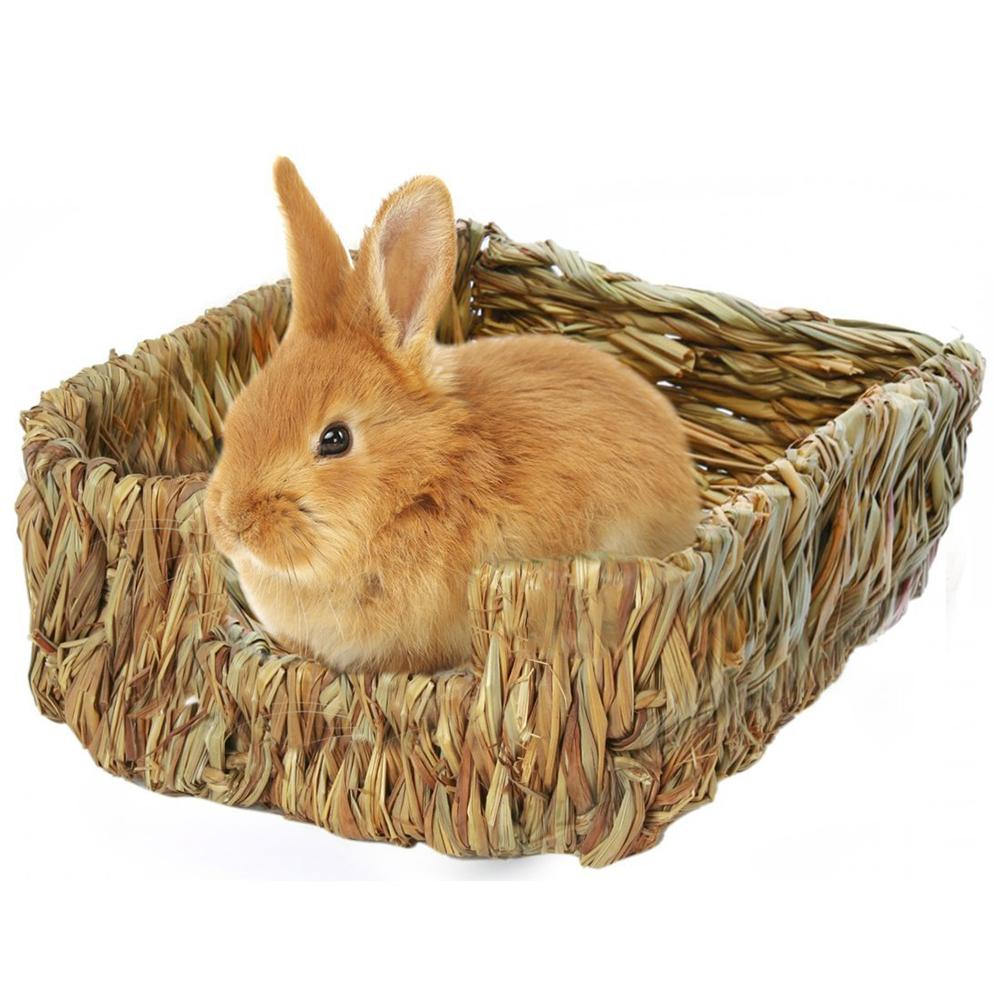 Artesanía, nido de hierba tejida, jaula para casa de conejo, cama de hierba Natural, nido para cobayas, Chinchillas, juguetes para morder para mascotas pequeñas