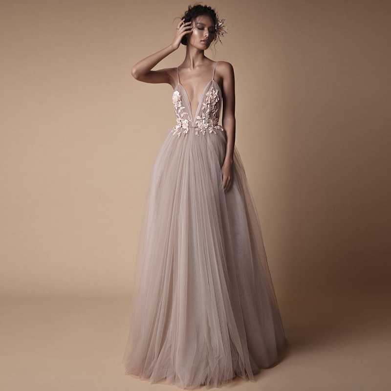 CloverBridal-traje de novia descubierto por la espalda, vestido de fiesta de boda...