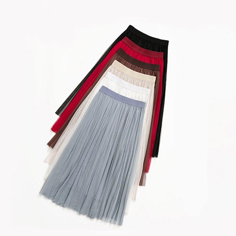 Lucyever Elegant Women Mesh long Skirt Elastic High Waist Spring Summer a line pleated Tulle Skirt Korean party Ladies Faldas