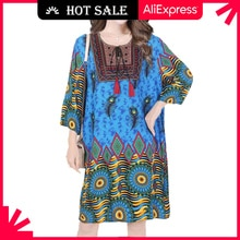MOVOKAKA Blue Plus Size Dress 2021 Vintage Embroidery Elegant Summer Beach Dress Women Loose Dress C