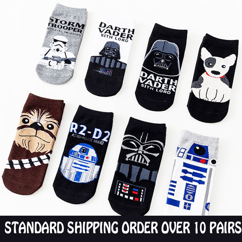 Starwars Boat Socks Men Woman Darth Vader Robot R2-D2 Storm Trooper Anime Figures Socks