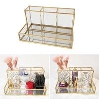 clear glass makeup brush holder cosmetic storage case lipstick holder desk organizer cosmetic make up organizer makeup tools