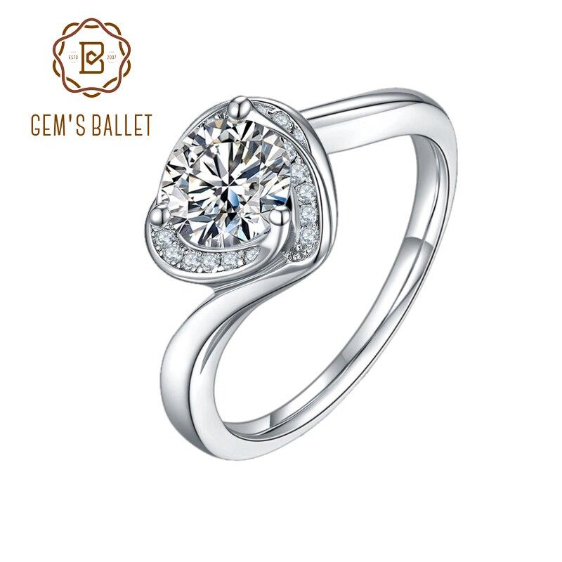 GEM'S الباليه جديد تصميم الزفاف خاتم الخطوبة القلب حلقة 925 فضة 1.0Ct 6.5 مللي متر D اللون المويسانتي الدائري للنساء
