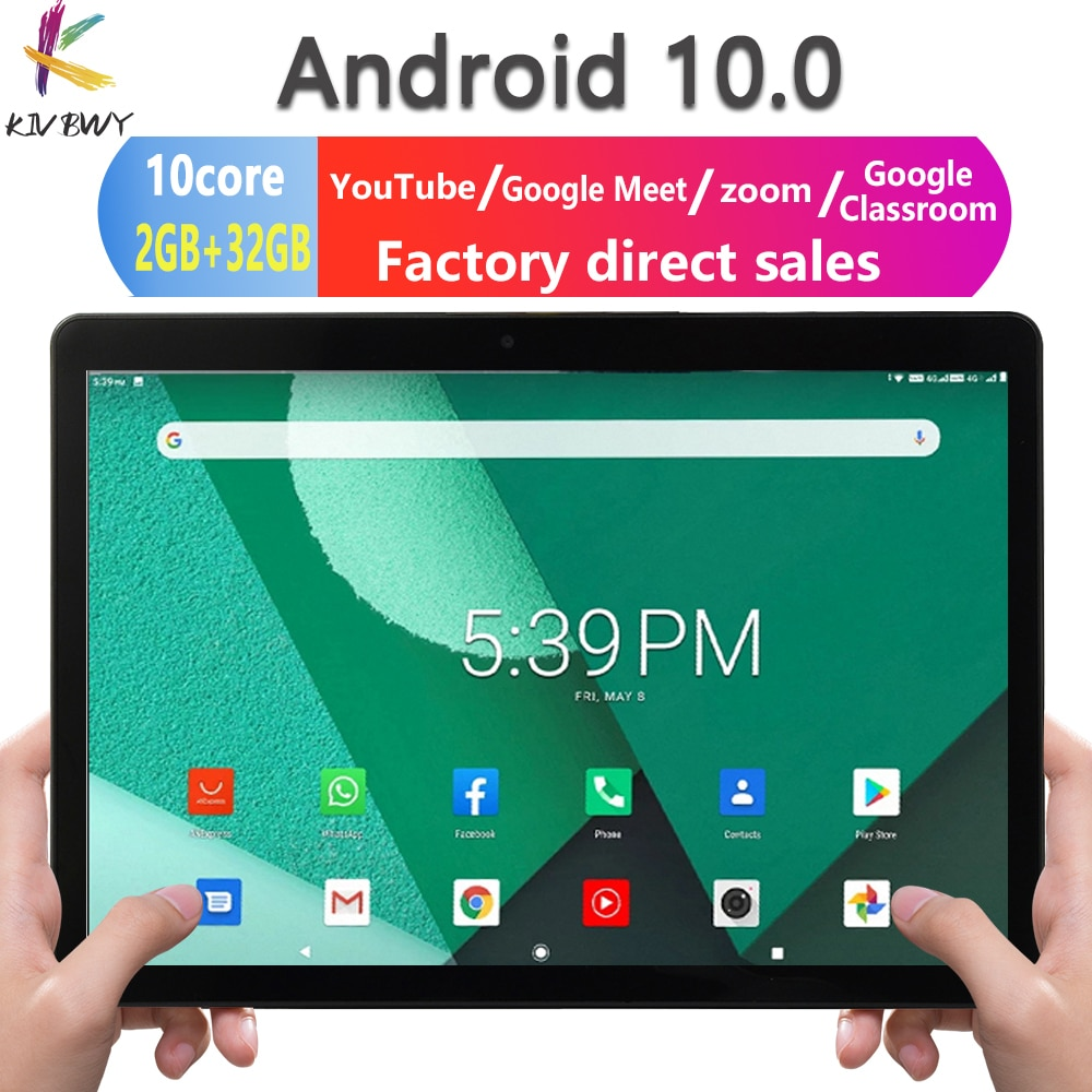 Kivbwy New Original 10.1inch Tablet Pc 10 Core Android 10.0 4G Network Dual SIM WiFi Bluetooth Mobile Phone Tablets 2GB+32GB