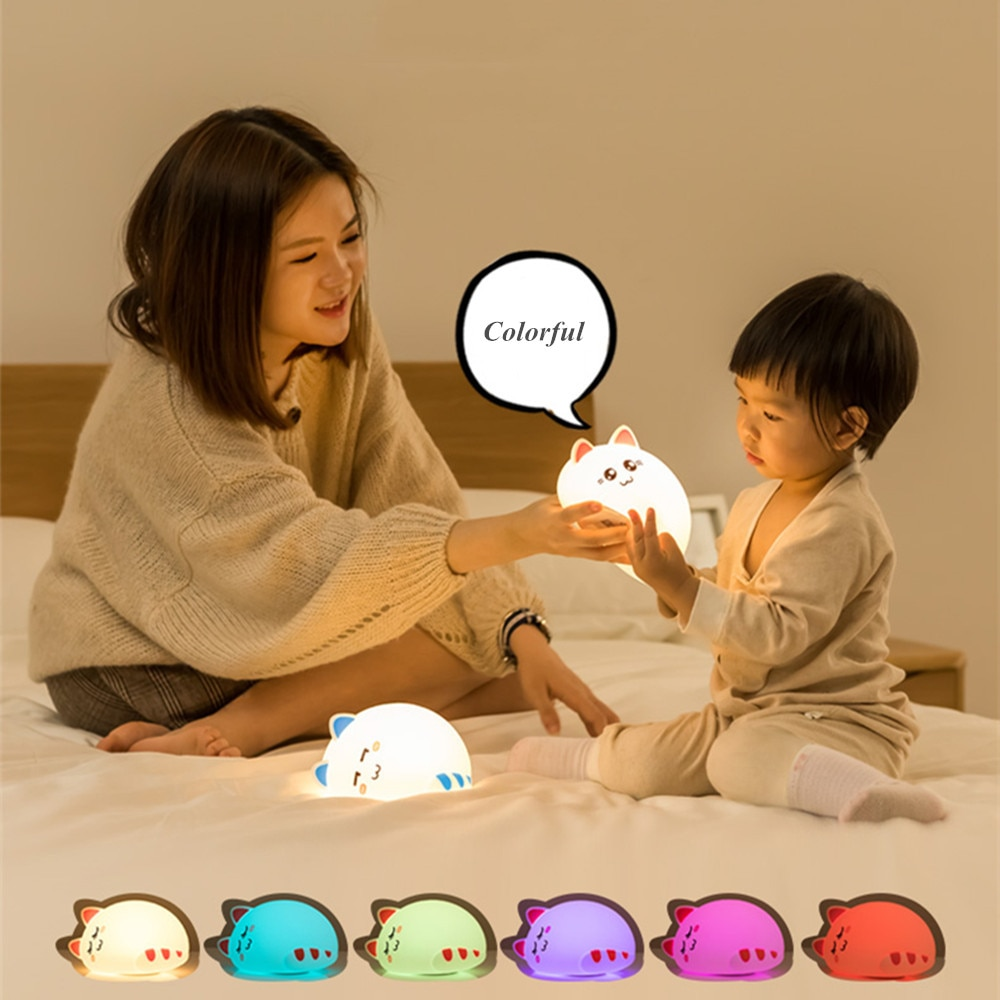 Cat LED Night Light Touch Sensor Colorful Dimmable USB Rechargeable Cartoon Silicone Bedroom Bedside Lamp for Children Baby Gift