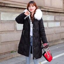 Artificial Fur Collar Winter Jacket Women Slim Long Hooded Parkas Jackets Plus Size High Quality Par