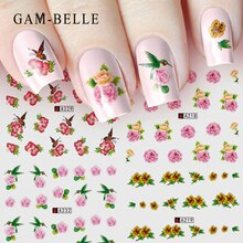 GAM-BELLE 1pcs Nail Art Water Decals Flower Rose Purples Designs for Women Full Cover Sticker Decorations Sticker Summer Tips