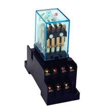 HH54P 릴레이 my4 (3 대/몫) 은 접촉 my4nj PYF14A rele 12v 24v 220v ac 48vdc 릴레이 5A 14 핀 전원 릴레이 (기본 소켓 포함)