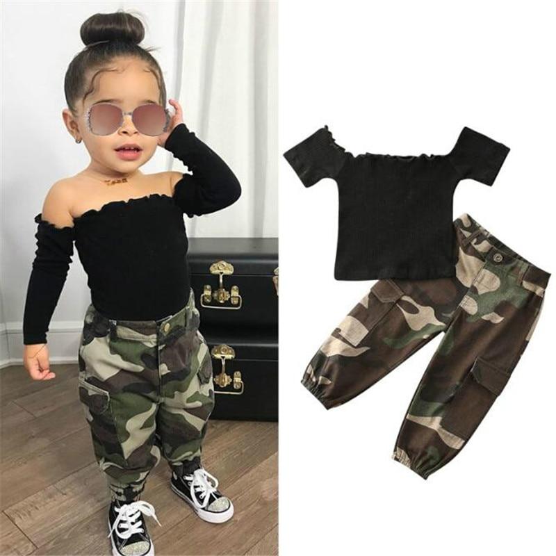 1-6Y Mode Infant Baby Mädchen Kleidung Sets Sommer Rippen Stricken Kurzarm Off Schulter T Shirts Tops + Camouflage Hose 2Pcs Set