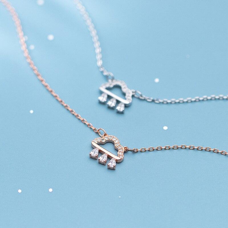 Collar con colgante de gota de agua en forma de nube de circonia cúbica brillante plata de ley 925 auténtica de Colusiwei para mujer, joyería de plata fina