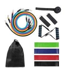 15 pièces bandes de résistance ensemble Nature Latex exercice élastique bande Fitess Yoga boucle bande tirer corde pour exercice dentraînement avec sac