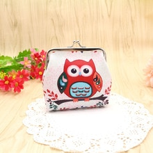 Retro Owl Pattern Coin Purse Pu Fabric Leather Key Holder Wallet Hasp Small Bag Clutch Handbag