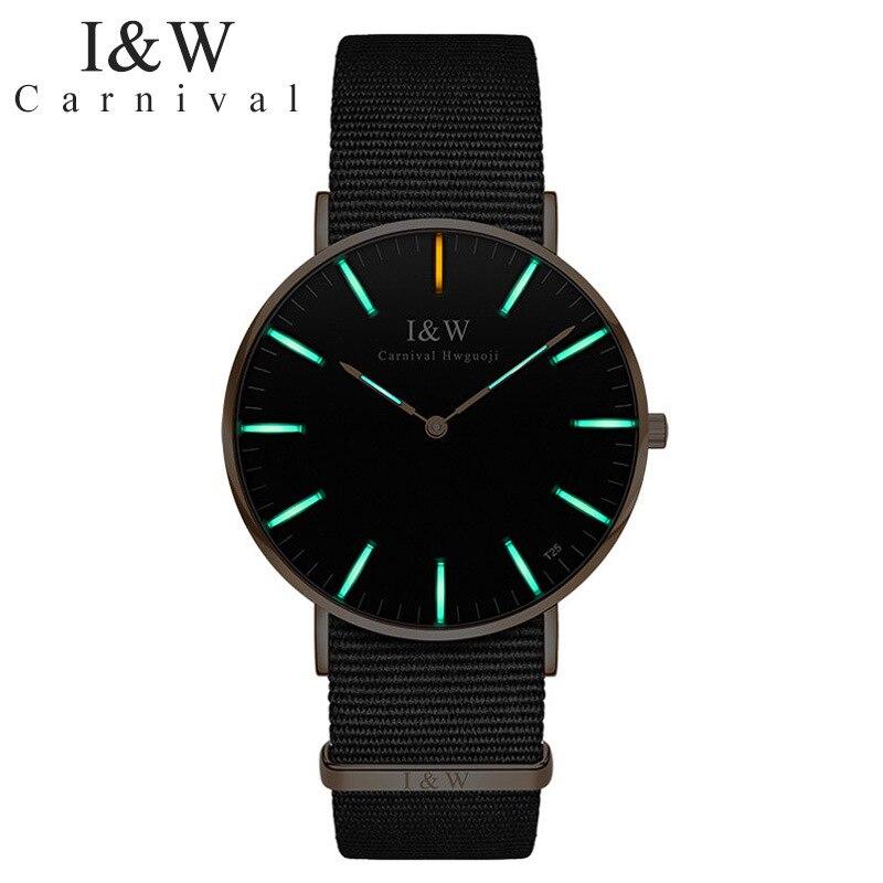 CARNIVAL Brand Fashion Watch Man Woman Couple Lover's Self Luminous Tritium Ultra Thin Quartz Wristwatch 2021 Reloj Hombre Mujer