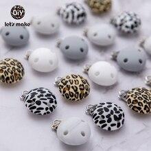 Let's Make-Clip para chupete de bebé, soporte de silicona redondo de mármol de leopardo, tres agujeros, pezones infantiles, producto para bebé, 3 uds.