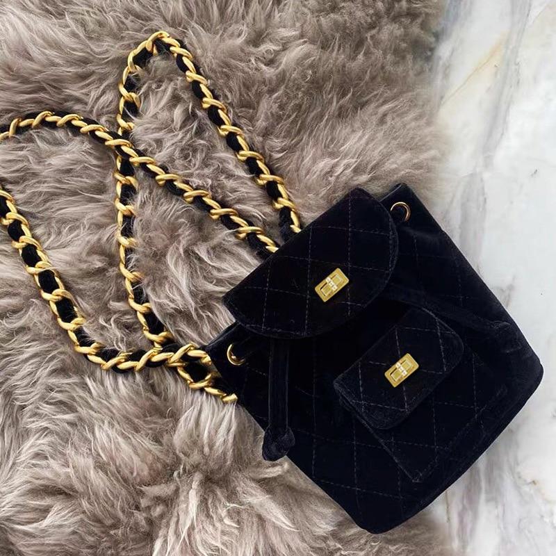 Lingge velvet-حقيبة ظهر نسائية ، حقيبة سفر ، ماركة فاخرة ، حقائب مدرسية للمراهقات ، محافظ صغيرة