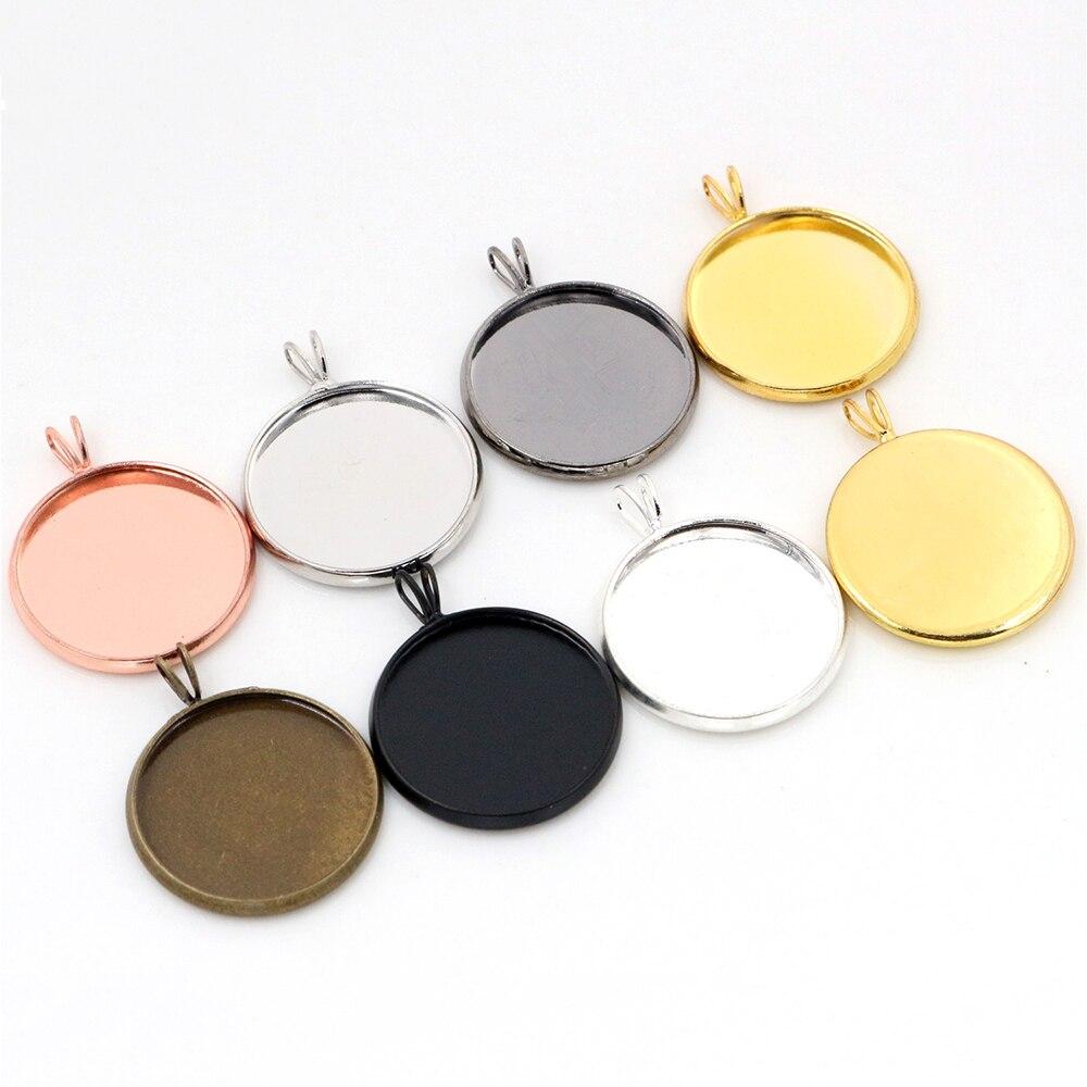 10 Uds. 20mm tamaño interior 7 colores plateados forma de V estilo bronce Metal cabujón Base ajuste encantos colgante