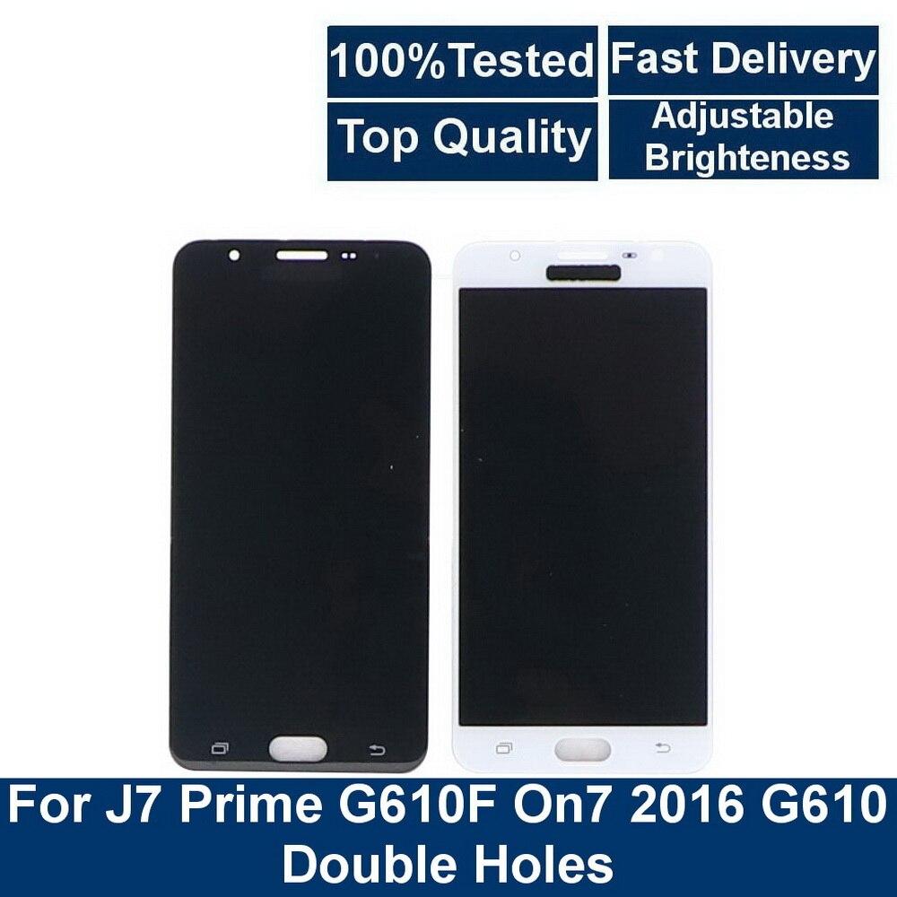 Para Samsung Galaxy J7 Prime G610 G610F On7 2016 G6100 G610M LCD pantalla táctil digitalizador montaje doble agujero reemplazo