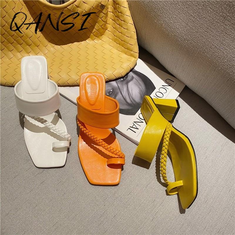 Retro Square Toe Flip Flops Women Orange Heels Fashion Weave Party High Heel Women Sandals Outdoor Thick Heel Women Slippers