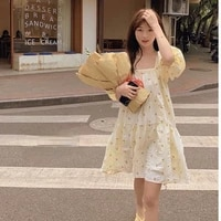 french retro dress woman floral print sweet a line mini dress loose kawaii puff sleeve square collar casual womens dresses ins