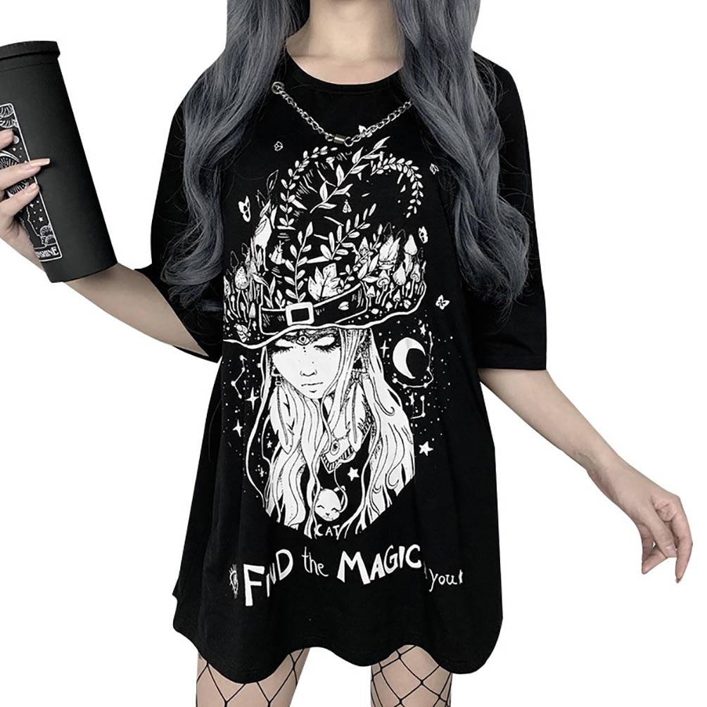 Lychee meninas das mulheres bruxa imprimir colar tshirt punk manga curta camiseta casual streetwear moda verão topo t feminino