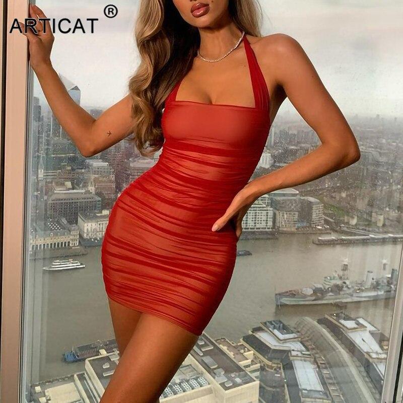 aliexpress - Articat Double Layer Mesh Dress For Women Night Sexy Party Dress Office Ladies Wear 2021 New Spring Women Skinny Daily Vestidos