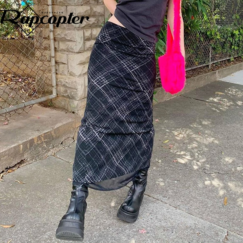 Rapcopter Striped Long Skirts Retro y2k Straight Skirts High Waisted Summer Skirts Women Sweet Cute Party Skirts Grunge Trendy