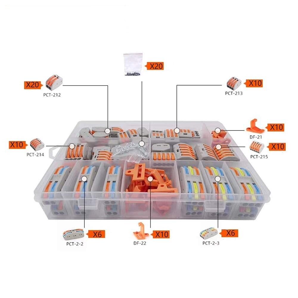 62 Uds., Tuercas de palanca, combinación de conectores de cable compacto conductor 212.213.214.215.2-2,2-3 Cierre y tornillo de cortesía