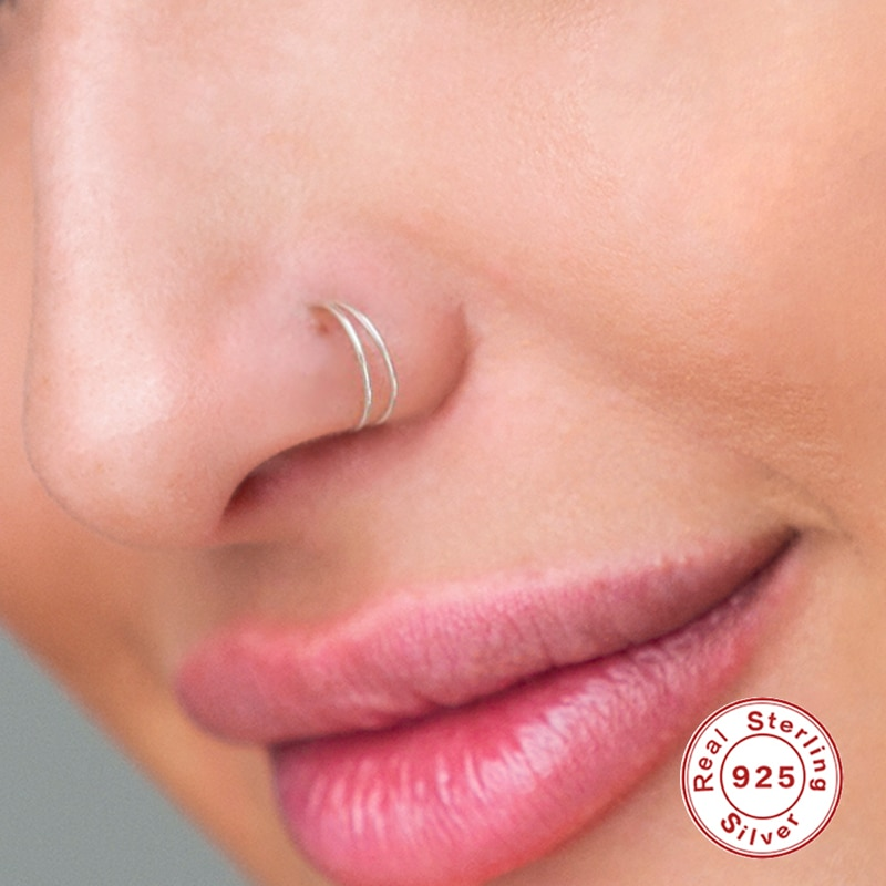 Фото - AIDE 8mm Segment Rings Nose Hoop Ear Piercing Tragus 925 Silver Nose Ring Ear Cartiliage Tragus Sexy Body Jewelry Piercing Nariz body jewelry open nose ring fake clip sexy on 6 8 10mm 1pc sale small hoop simple surgical steel piercing stud thin free ship