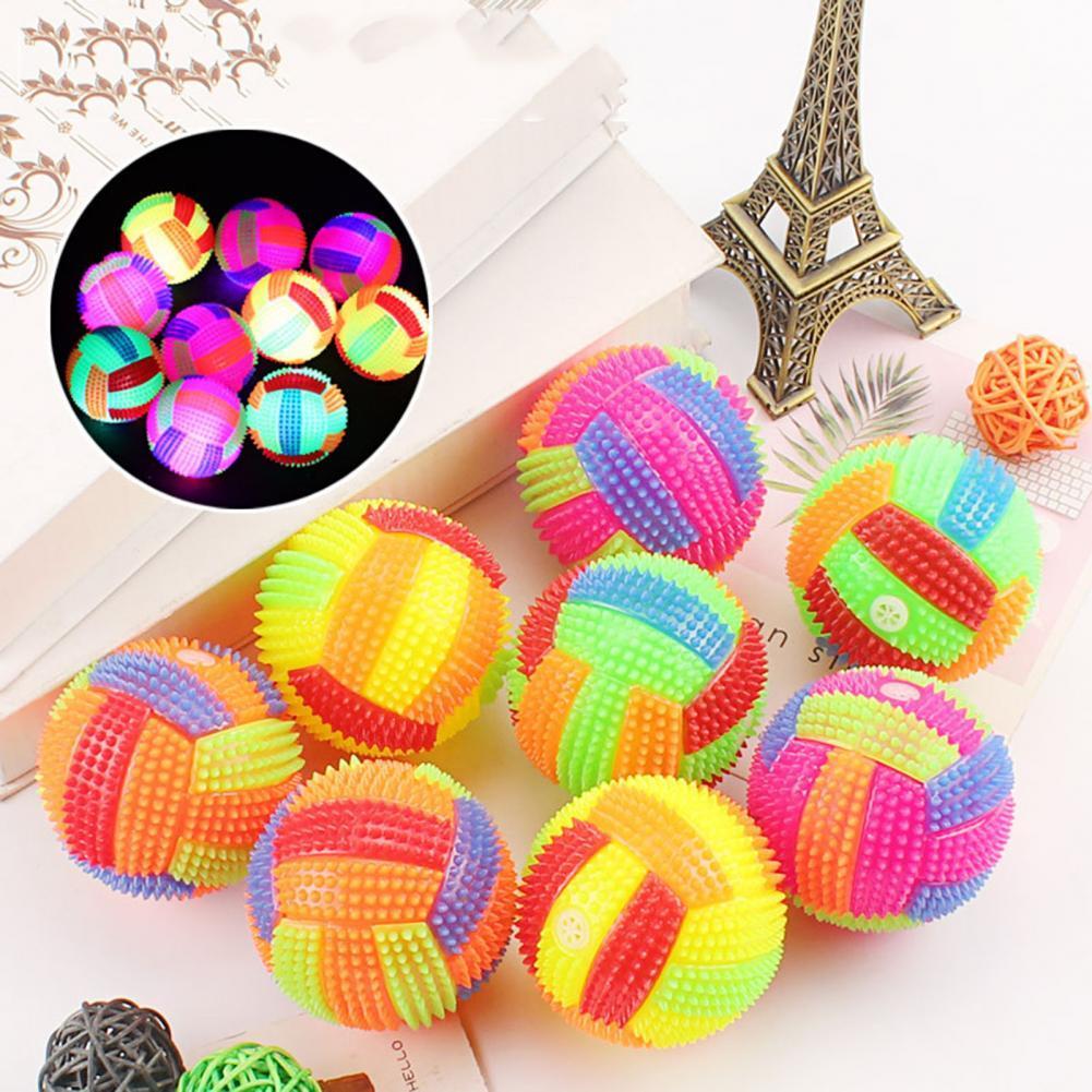 Красочный светящийся мигающий Сжимаемый звук для снятия стресса надувной мяч Детская Игрушка надувной мяч Сжимаемый мяч