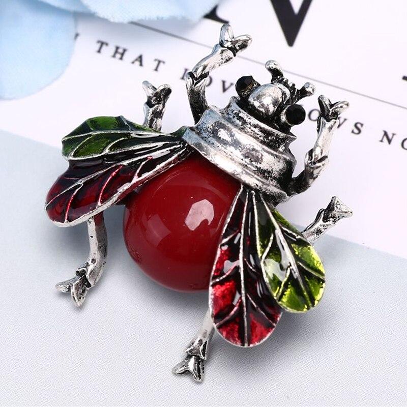 Broches de abeja roja Vintage con diamantes de imitación para mujer, broches clásicos de insectos para hombre, broches de abeja