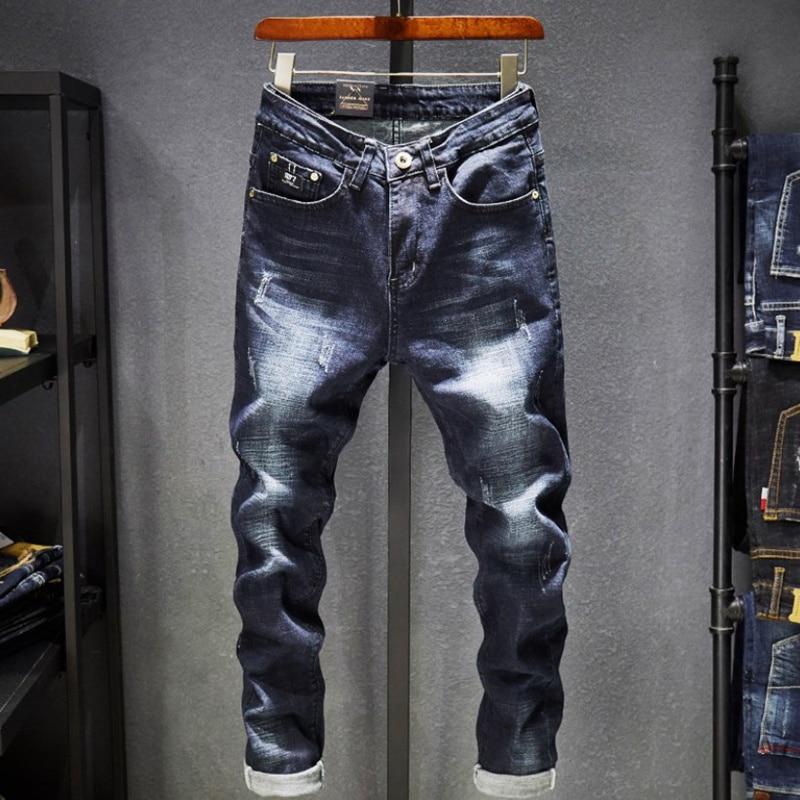 Новые мужские джинсы со средней талией, Корейская версия, эластичные брюки с небольшими штанинами, облегающие мужские повседневные брюки, о...
