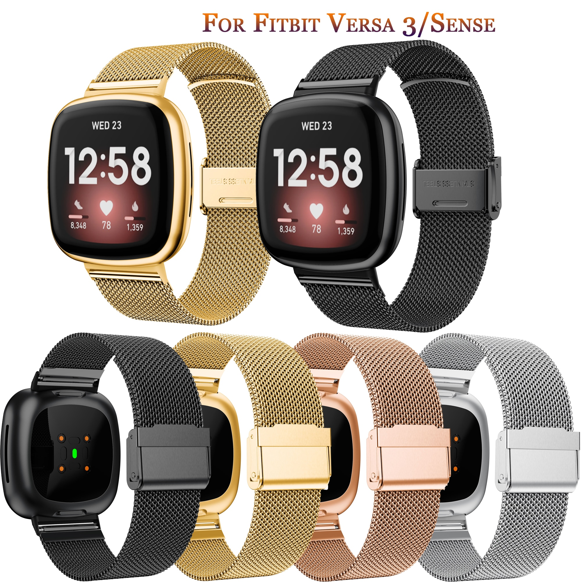 Strap For Fitbit Versa 3/Sense luxury Milan Bracelet Strap For Fitbit Versa3 sport Milan Fashion Strap Wristbands Accessory
