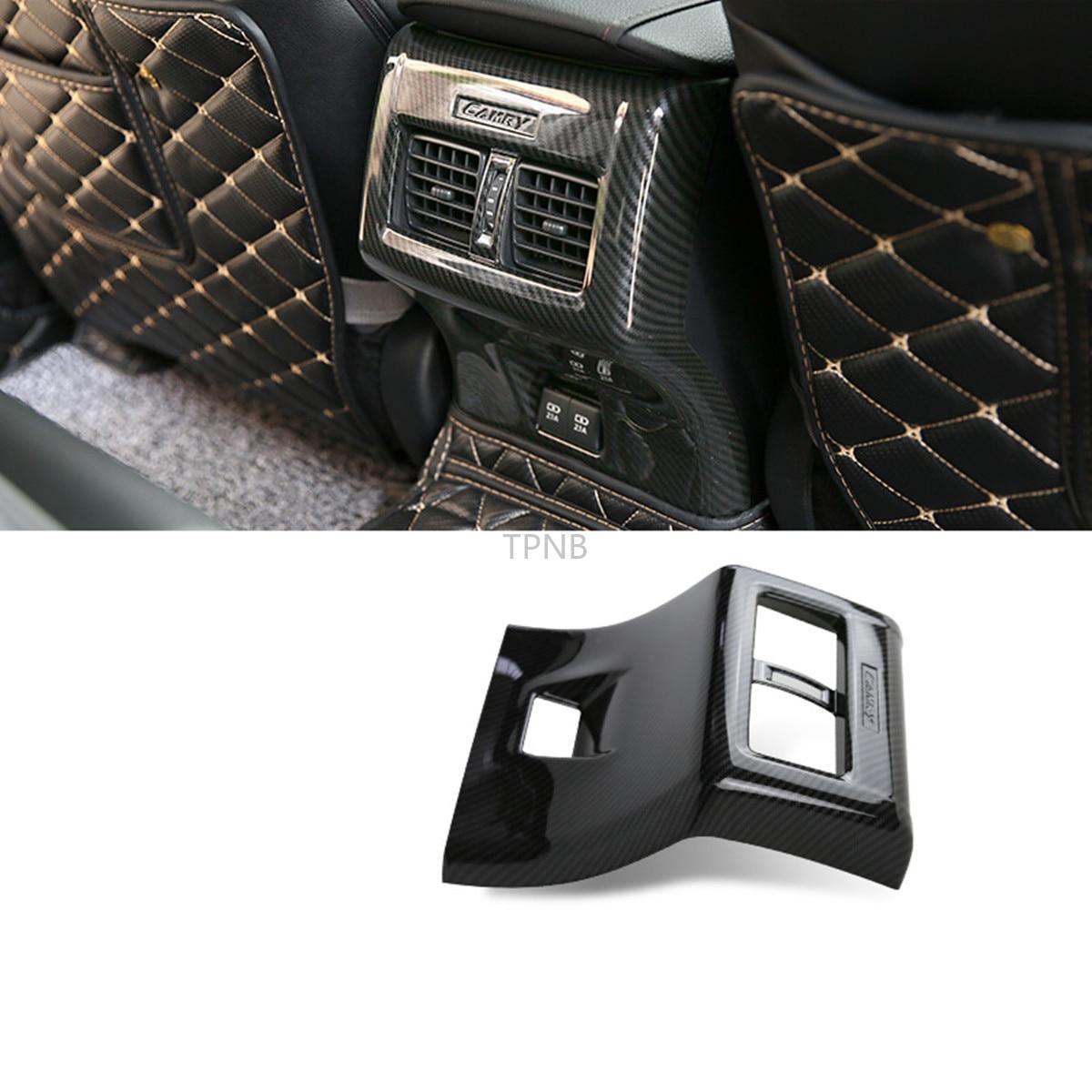 Fibra de carbono reposabrazos caja aire acondicionado trasero tapa de salida Trim para Toyota Camry 2018 2019 8th accesorios de estilo de coche