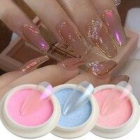 Твердый порошок для ногтей Аврора Русалка хромированный зеркальный пигмент украшения для ногтей перламутровая щетка для протирания пыли н...