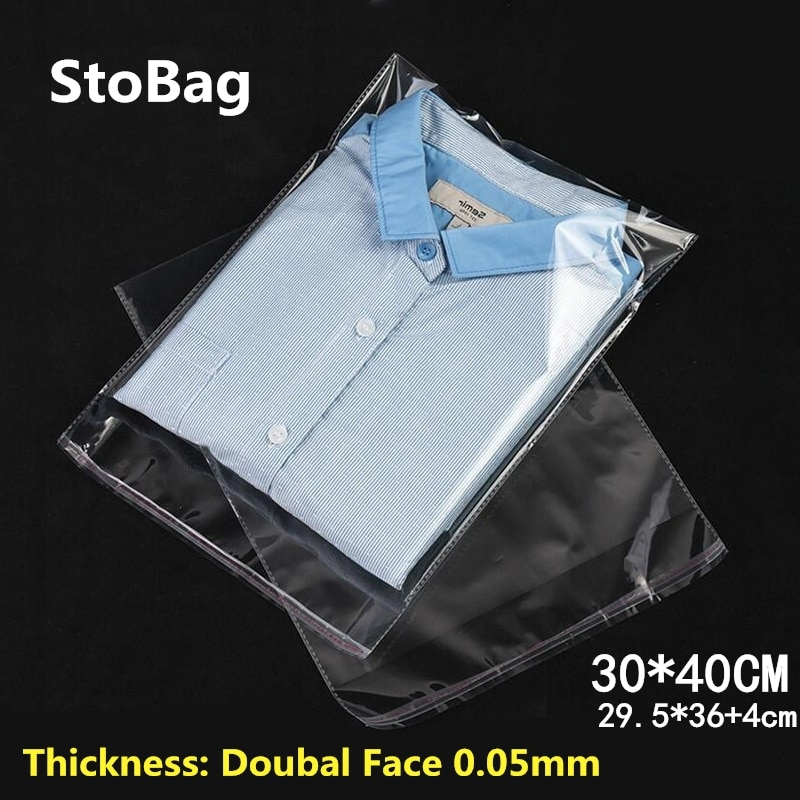 StoBag 100 piezas 30*40cm transparente autoadhesivo plástico OPP resellable Poly celofán bolsas de ropa embalaje transparente regalo bolsa