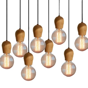 Скандинавский Ретро подвесной светильник из дуба, подвесной светильник E27, Винтажный дизайн, подвесной светильник в стиле лофт, гостиной, столовой, освещение для ресторана