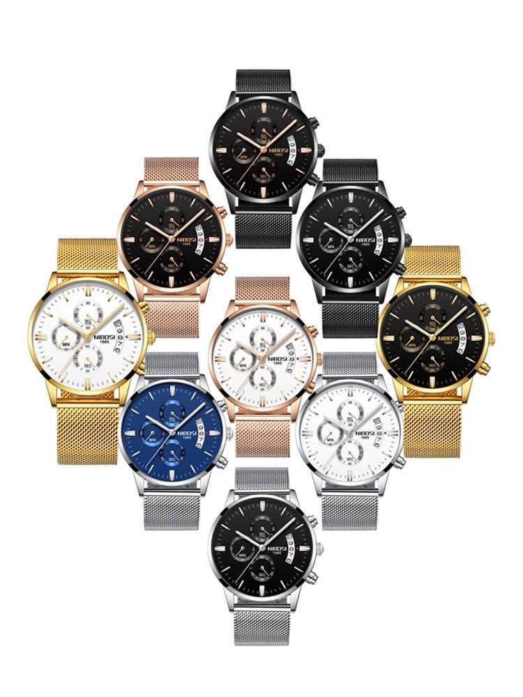 Men's Watch Stainless Steel Belt Business Waterproof Coated Glass Night Light Three Eyes 6 Pin Multi-function Quartz Watch enlarge