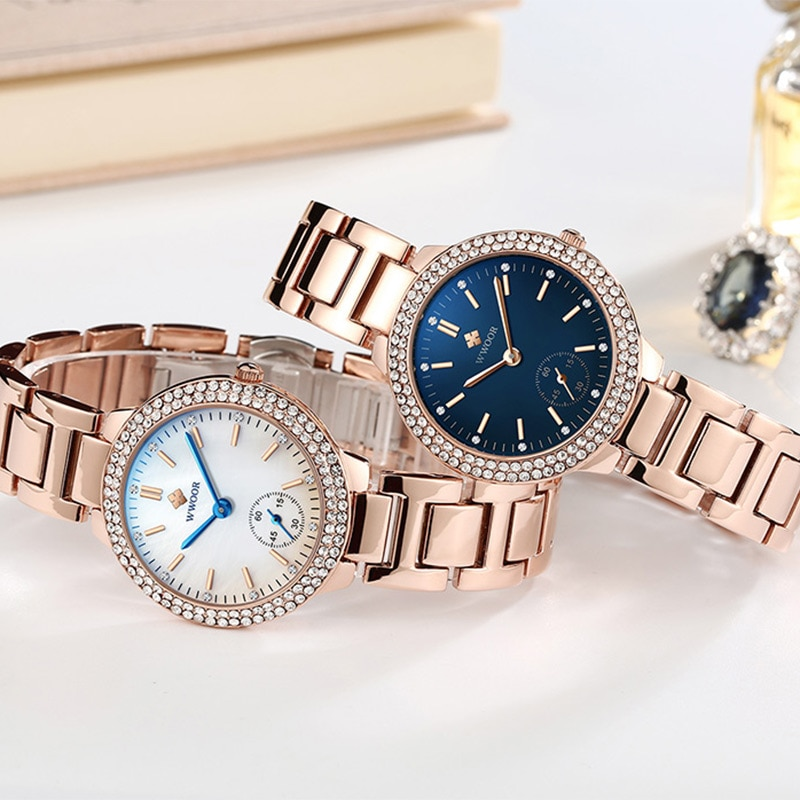 WWOOR Women Luxury Watch Relogio Feminino Stylish Diamond Ladies Clock Women Waterproof Quartz Bracelet Watch Rose Gold 2021 New enlarge