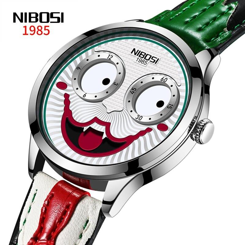 Часы наручные NIBOSI мужские с клоуном, водонепроницаемые спортивные брендовые Роскошные деловые кварцевые наручные