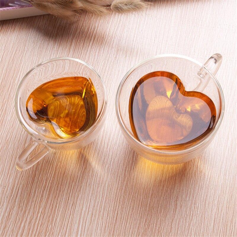 2 uds en forma de corazón de amor taza de vidrio de doble pared resistente Kungfu taza de té leche limón jugo taza Drinkware amante tazas de café taza de regalo