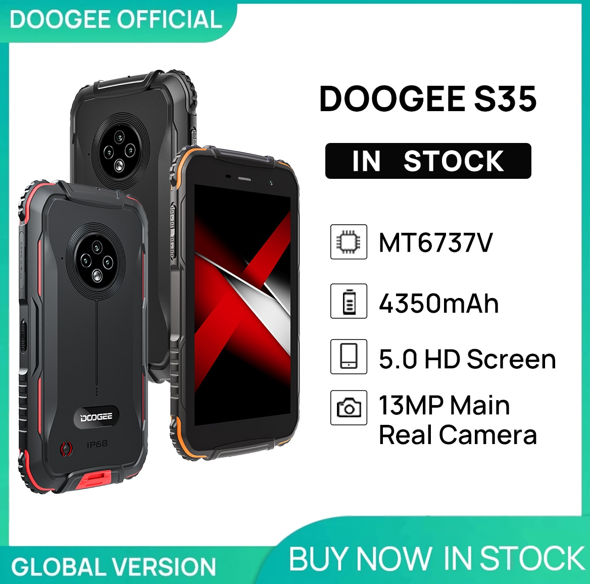 World Premiere DOOGEE S35 Rugged Phone Sony 13MP Triple Camera Mobile Phones 360 All-Round Protectio