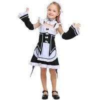 re zero kara hajimeru isekai seikatsu ramu ram remu rem maid apron dress kids children girl outfit uniform anime cosplay costume